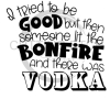 I Tried to be Good but there was a Bonfire and Vodka Alcohol Designs