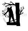 Bow Hunter in Tree Fishing and Hunting Designs