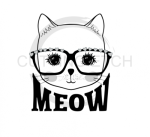 Cat Face with Glasses Animal Designs
