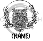 Owl Mandala Wreath with Name Animal Designs