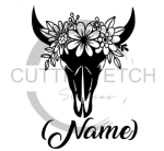 Floral Cow Skull with Name Animal Designs