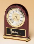 Rosewood Piano Finish Desk Clock on a Brass Base Arch Awards