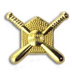 Crossed Bats Chenille Letter Pin Baseball Trophy Awards