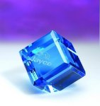 Blue Standing Cube Blue Optical Crystal Awards