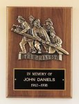 Fireman Plaque with Antique Bronze Finish Casting. Cast Relief Plaques