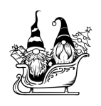 Gnomes in Sleigh Christmas Designs