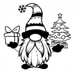 Gnome with Tree and Present Christmas Designs