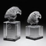 Eagle Head II Clear Optical Crystal Awards