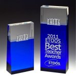 Together Blue Block Tower Crystal Award Cobalt Glass Awards