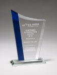 Zenith Series Jade Glass Award with Blue Glass Highlights Cobalt Glass Awards