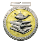 Dual Plated Medallion -Book and Lamp Dual Plated Medal Awards