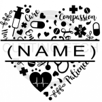 Split Heart with Name Medical Designs