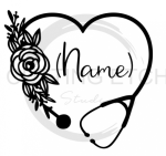 Floral Stethoscope with Name Medical Designs