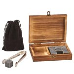 Wood Box with Tongs, 9 Whiskey Stones & Pouch Misc. Gift Awards