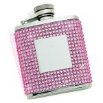 Flask with Pink Crystals & Engraving Plate Misc. Gift Awards