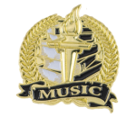 Bright Gold Academic Music Lapel Pin Music Trophy Awards