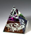 Rainbow Colored Pyramid Paper Weight Crystal Awards
