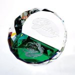 Duet Round Paperweight- Color Paper Weight Crystal Awards
