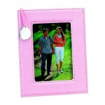 Pink Leatherette Frame with Engraving Tag Photo Gift Items