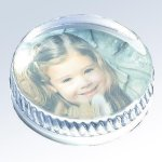 Molten Glass Round Photo Paperweight Photo Gift Items