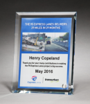 Personalize Your Glass Award with Four-Color Reproduction. Red Glass Awards