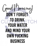 Good Morning Don't Forget to Drink Your Water And Mind Your Own Sassy  Designs
