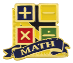 Bright Gold Educational Math Lapel Pin Scholastic Trophy Awards