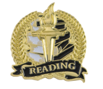 Bright Gold Academic Reading Lapel Pin Scholastic Trophy Awards