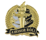 Bright Gold Academic A Honor Roll Lapel Pin Scholastic Trophy Awards