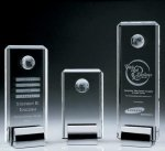 Crystal Tower Award W/Globe Square Rectangle Awards