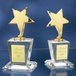 Brass Stars with Crystal Bases Star Crystal Awards
