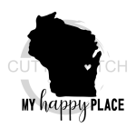 Wisconsin is My Happy Place with Heart Wisconsin Designs