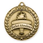 Wreath Award Medallion -Perfect Attendance Wreath Antique Medal Awards