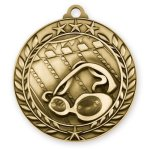 Wreath Award Medallion -Swimming Wreath Antique Medal Awards